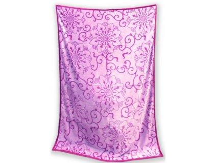 Deka mikro vzorovaná 150/200 cm - Gita fialová