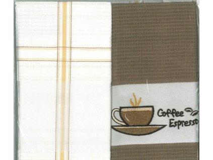 Bavlněná utěrka 2 ks 45/75 cm motiv káva