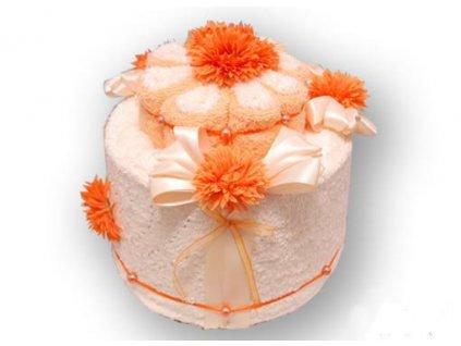 Dárkový dort z froté - Broskvové pokušení