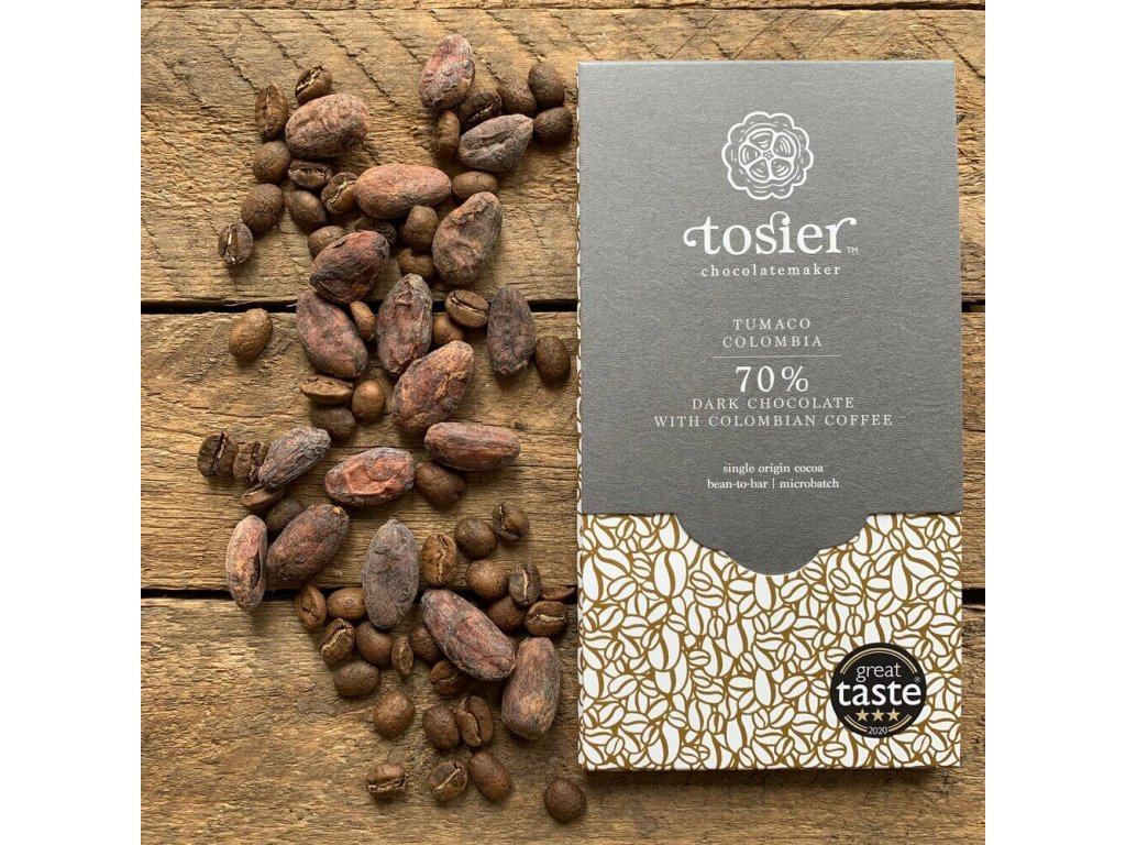 Hořká čokoláda s kolumbijskou kávou 70% KAKAO, Tumaco, KOLUMBIE   TOSIER CHOCOLATEMAKER
