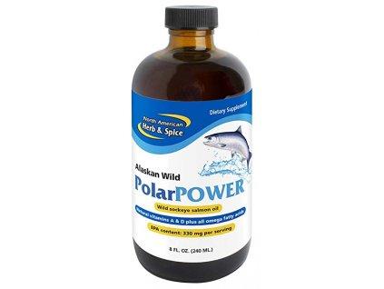 NORTH AMERICAN HERB & SPICE - PolarPOWER - Kvalitní Rybí Olej z divokého Aljašského lososa Sockeye [240 ml]