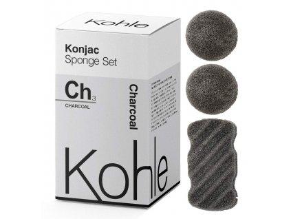 KOHLE - Konjac Houbičky - Dárková Sada Aktivní Černé Uhlí (3 kusy)