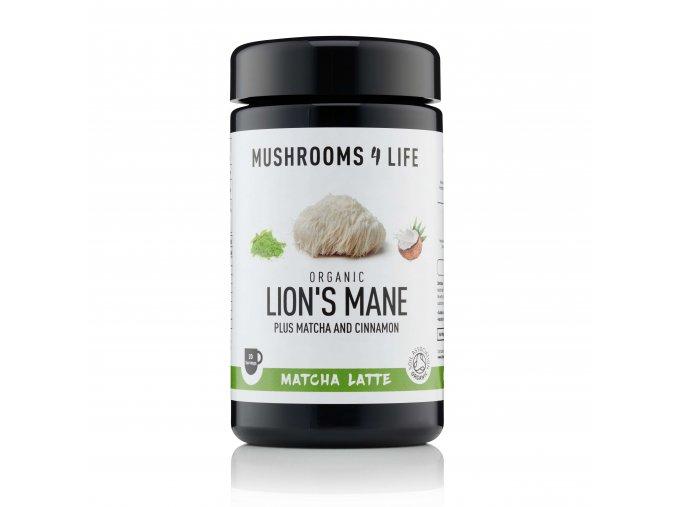 Kokosové laté s houbou hericium, zeleným čajem a skořicí