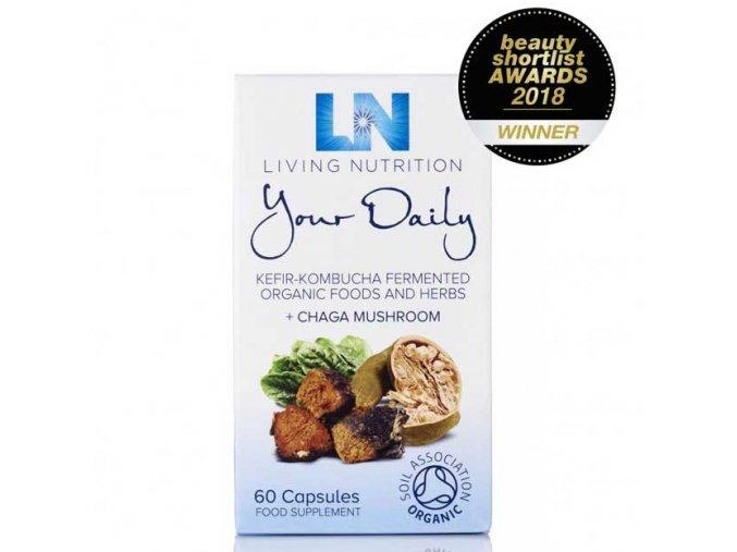 LIVING NUTRITION - YOUR DAILY - BIO Aktivní Bylinný Doplněk Stravy kvašený s ČAGA houbou [60 kapslí]