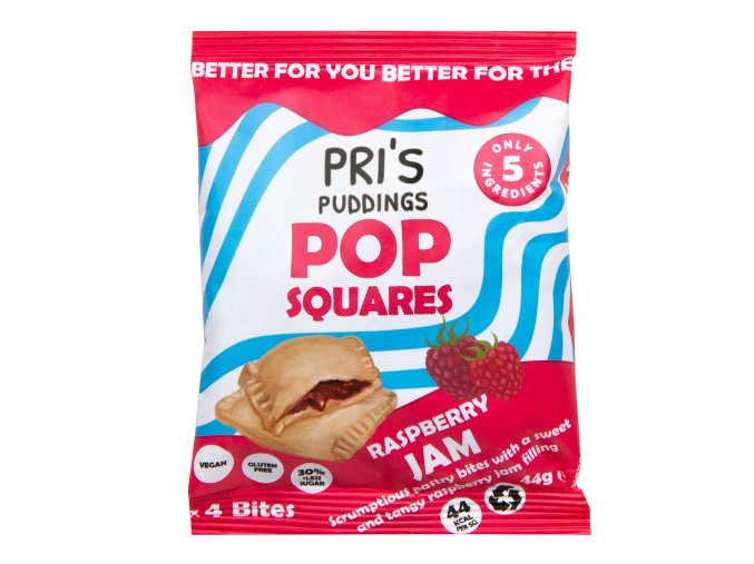 Pop Squares taštičky plněné malinovým džemem   PRI'S PUDDINGS