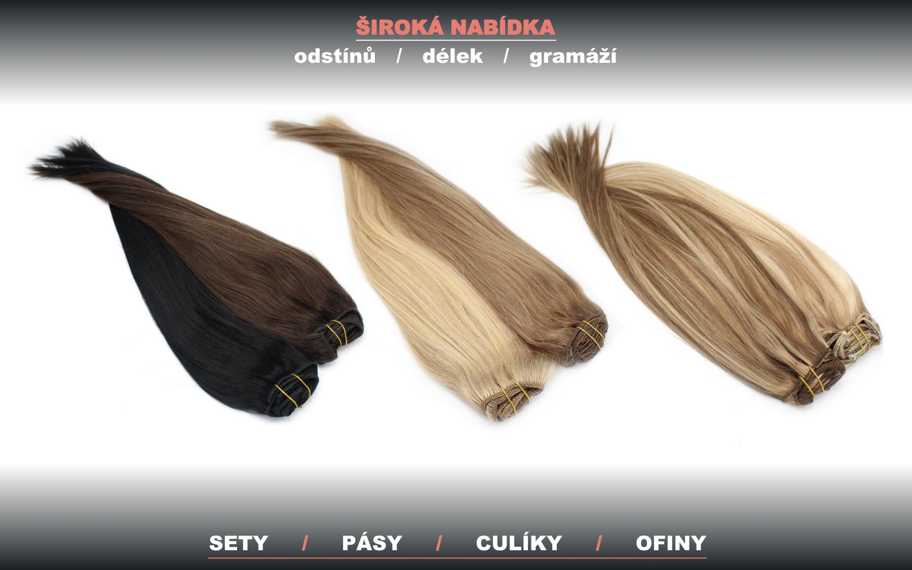 Velký výběr - pravé vlasy REMY k prodloužení a zahuštění