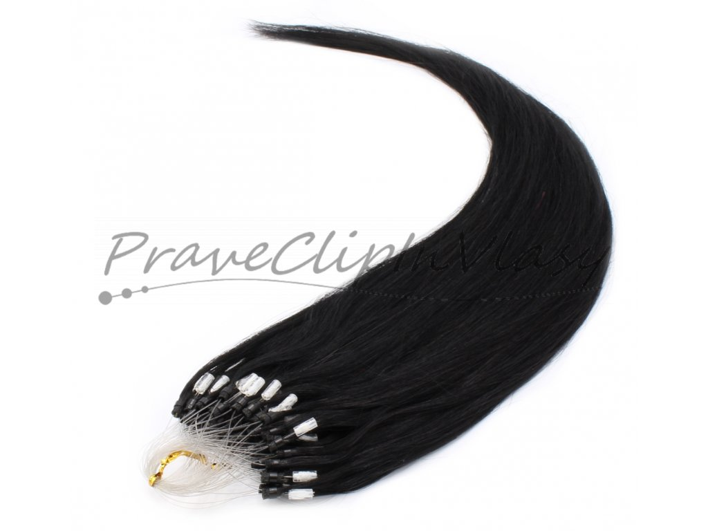 Vlasy na Micro ring 60cm - odstín černá