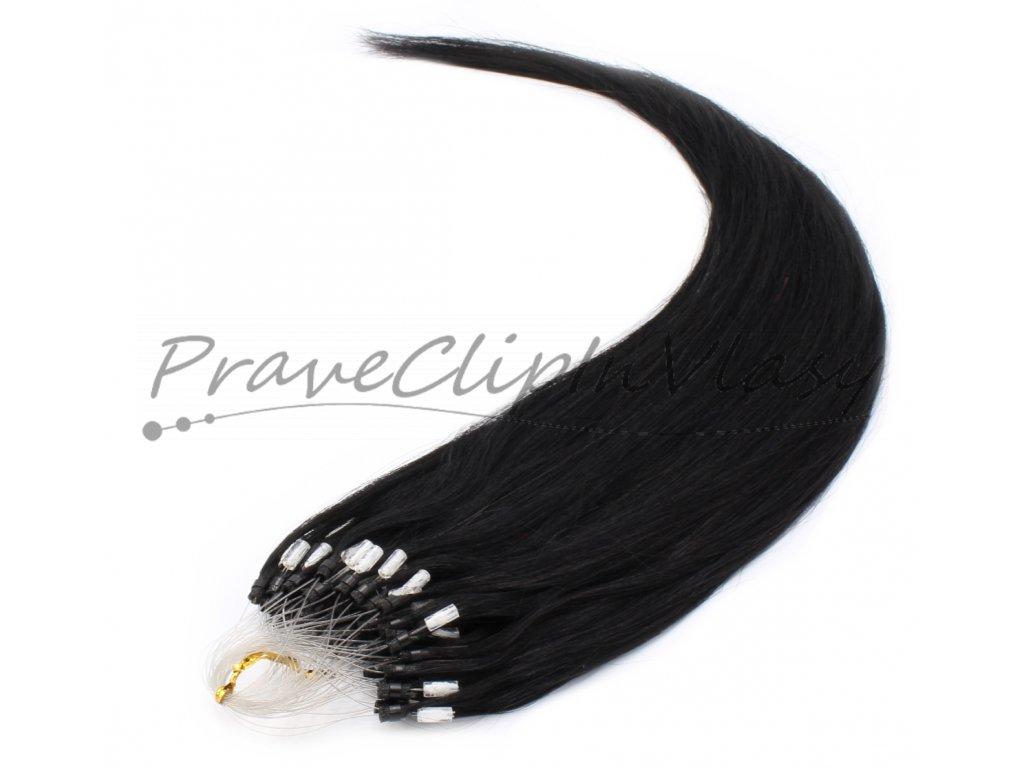 Vlasy na Micro ring 50cm - odstín černá