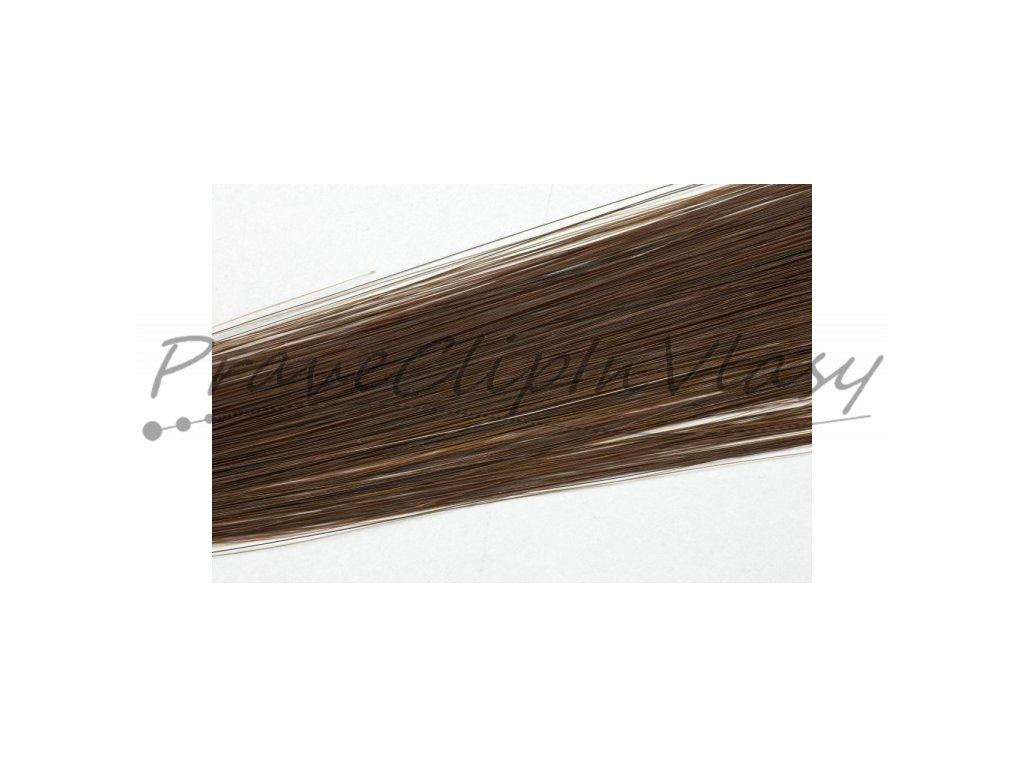 Clip in vlasy 50cm - Čokoládově hnědá barva
