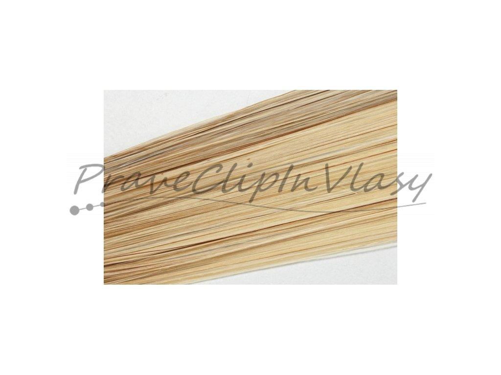 Clip in vlasy 50cm - Horní část pramene1/3 popelavá tmavá blond,2/3 konce velmi světlá popel.blond
