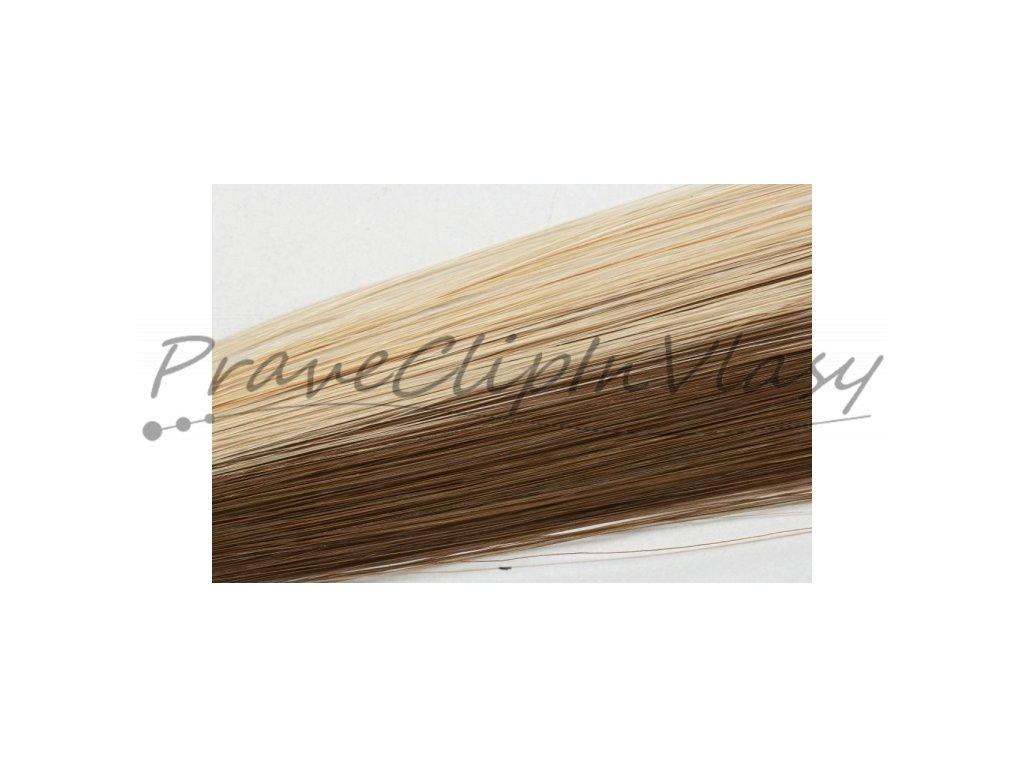 Clip in vlasy 50cm - Melír 50% čokoládově hnědá, 50% popelavá světlá blond