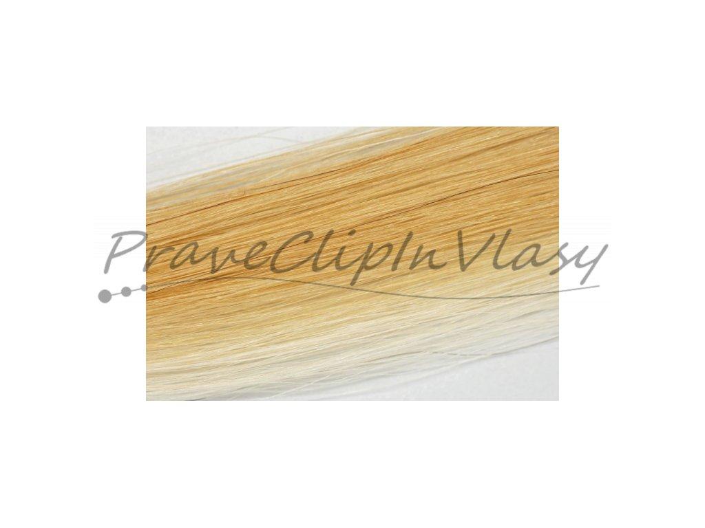 Clip in vlasy 50cm - Melír 50% tmavá blond medová, 50% velmi světlá blond