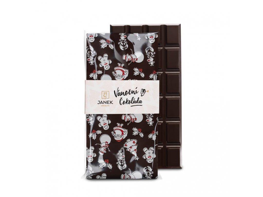 485 tabulka horke cokolady 64 procent s jedlym vanocnim potiskem cokoladovna janek jpg 2