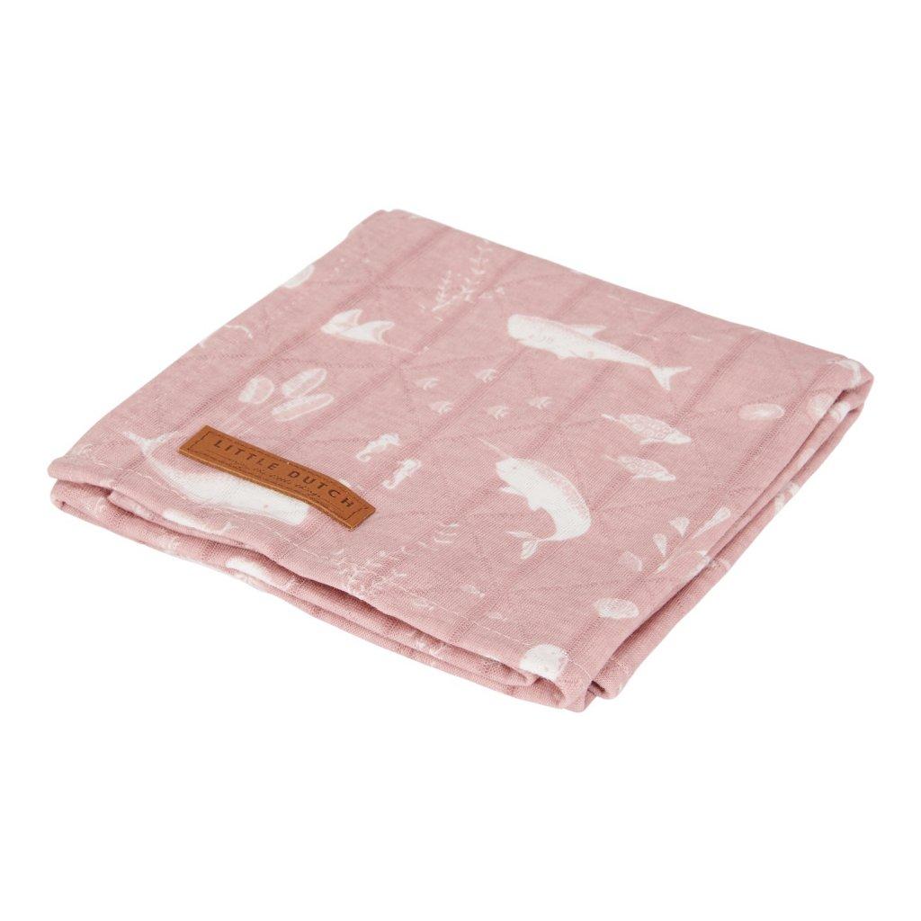 0003184 little dutch swaddle doek 120 x 120 ocean pink 0