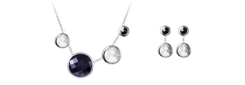 Kolekce šperků z chirurgické oceli Ebony s českým křišťálem Preciosa