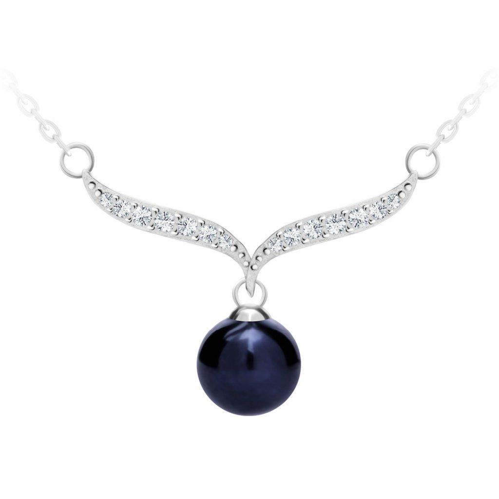 Stříbrný náhrdelník Paolina s černou říční perlou