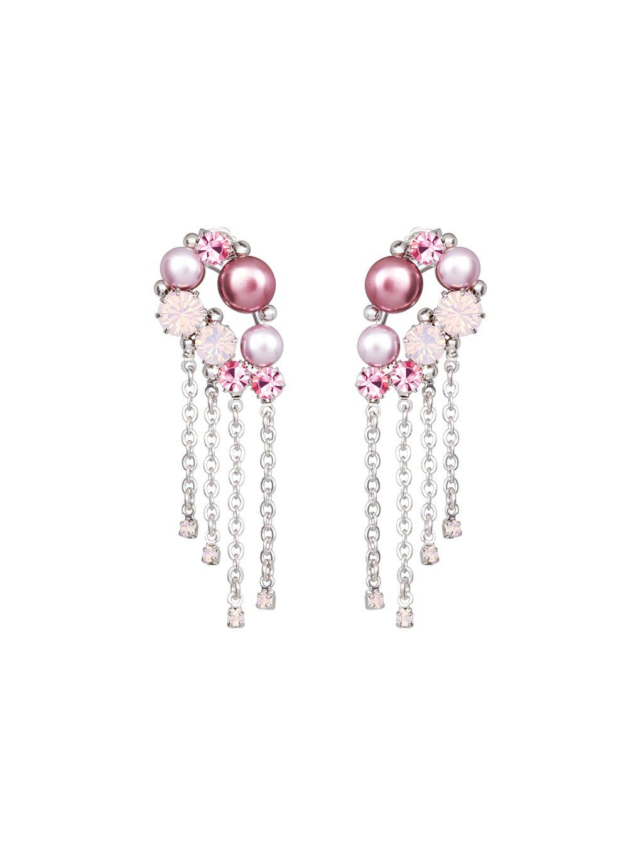 Náušnice Antoinette s českým křišťálem a voskovými perlemi Preciosa, růžové