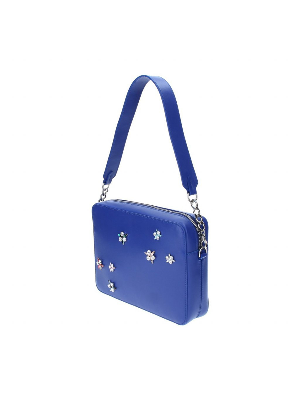 Kožená kabelka ELEGA by Dana M., modrá, velká