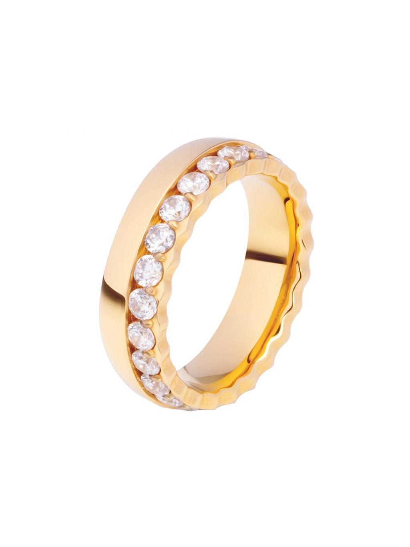 Prsten z chirurgické oceli Nissi, zlatý s bílými kameny