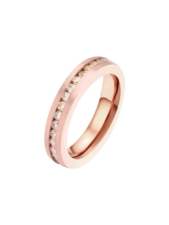 Prsten z chirurgické oceli Maya Bay, růžový s champagne kameny