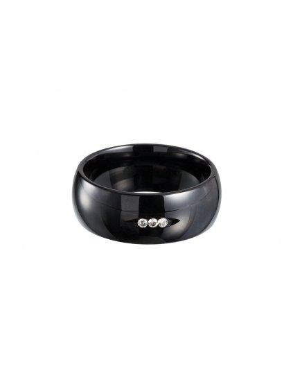 Prsten Dark Wheel z černé keramiky s kubickou zirkonií Preciosa