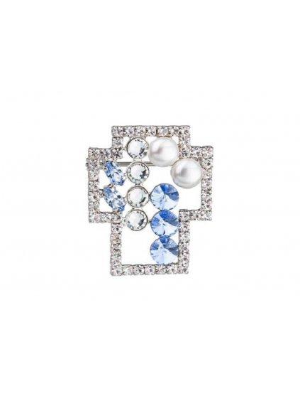 Štrasová brož Orléans s českým křišťálem a perličkami Preciosa - modrá