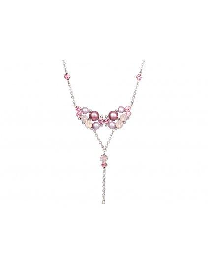 Náhrdelník Antoinette s českým křišťálem a voskovými perlemi Preciosa, růžový