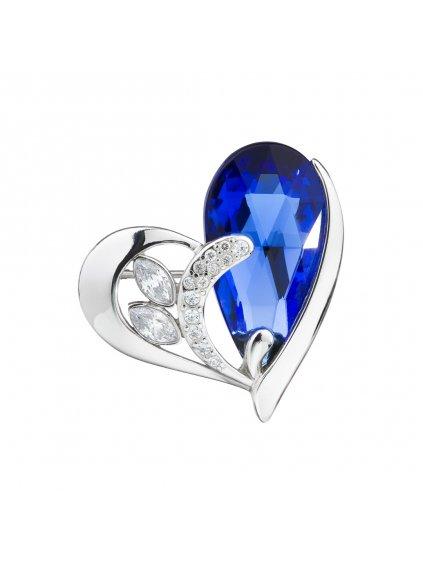 Stříbrná brož Wild Heart, srdce s českým křišťálem Preciosa, modrá