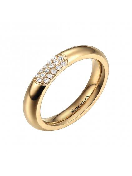Prsten z chirurgické oceli Copacabana, zlatý s bílými kameny
