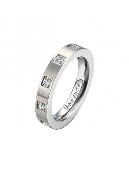 Prsten z chirurgické oceli Falassarna, stříbrný s bílými kameny