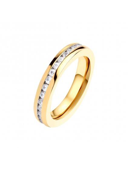 Prsten z chirurgické oceli Maya Bay, zlatý s bílými kameny