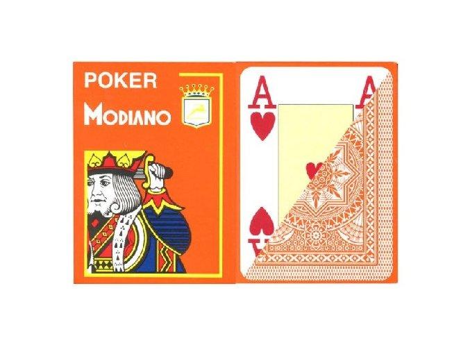 Pokrové hracie karty Modiano oranžové veľký index
