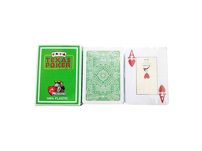 Pokrové hracie karty Modiano Texas Poker svetlozelené veľký index