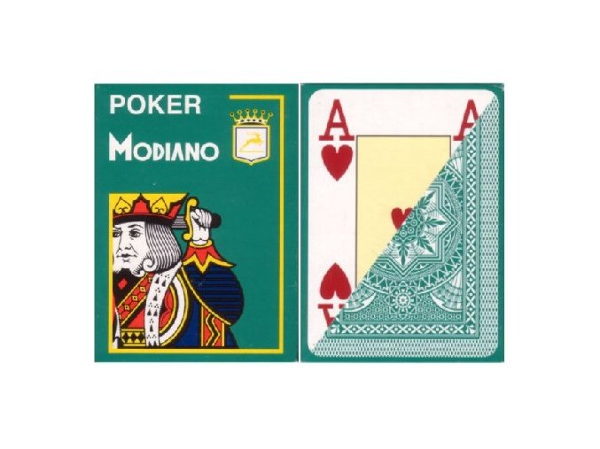 Pokrové hracie karty Modiano tmavozelené veľký index