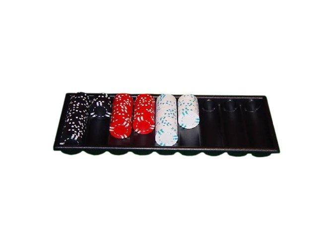 Pokrový chiptray čierny na 500 žetónov