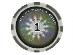 Poker chip ALL IN hodnota 1