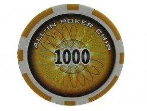 Poker chip ALL IN hodnota 1000