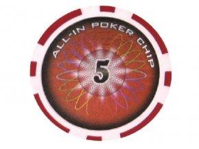 Poker chip ALL IN hodnota 5