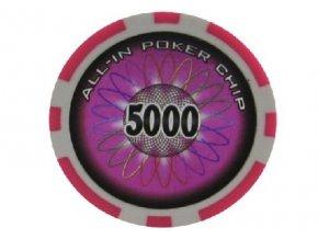 Poker chip ALL IN hodnota 5000