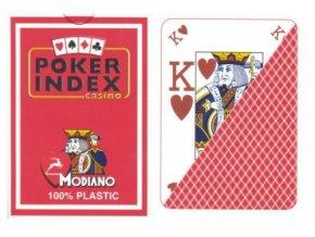 Pokrové hracie karty Modiano červené dvojitý index