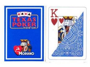 Pokrové hracie karty Modiano Texas Poker modré veľký index
