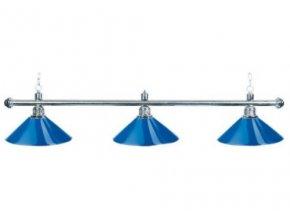 Biliardová lampa DE LUXE 3 tienidla modrá