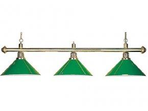 Biliardová lampa DE LUXE 3 tienidla zelená