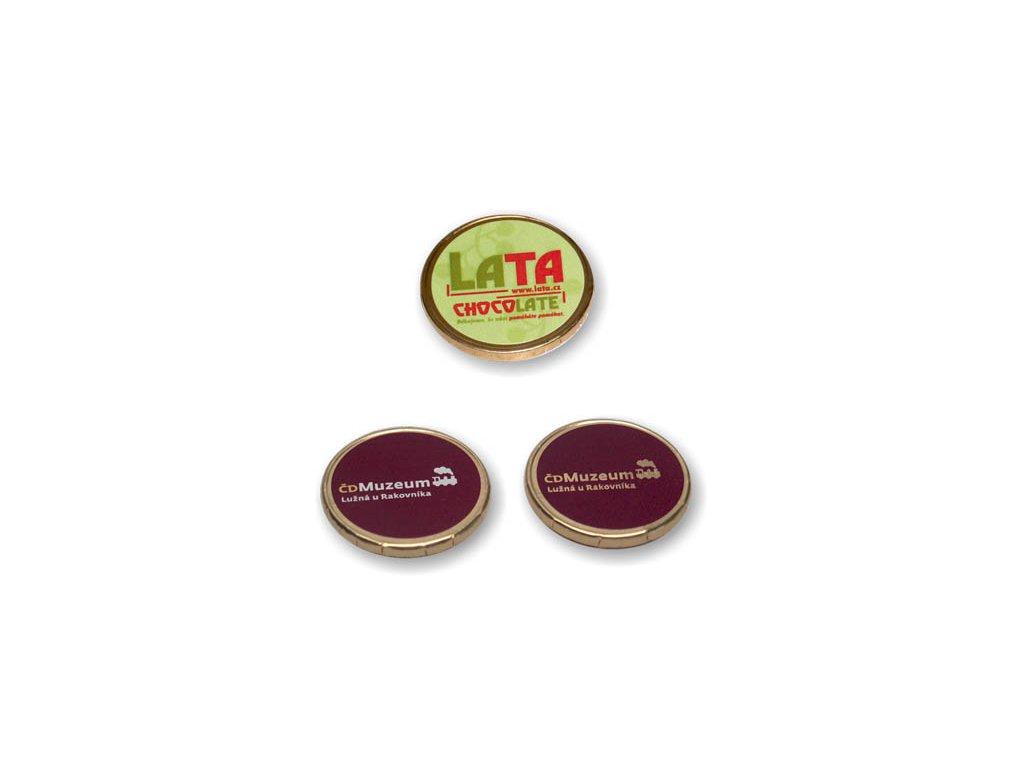 Čokomince 34 mm s UV tiskem nebo samolepkou 4,4 g