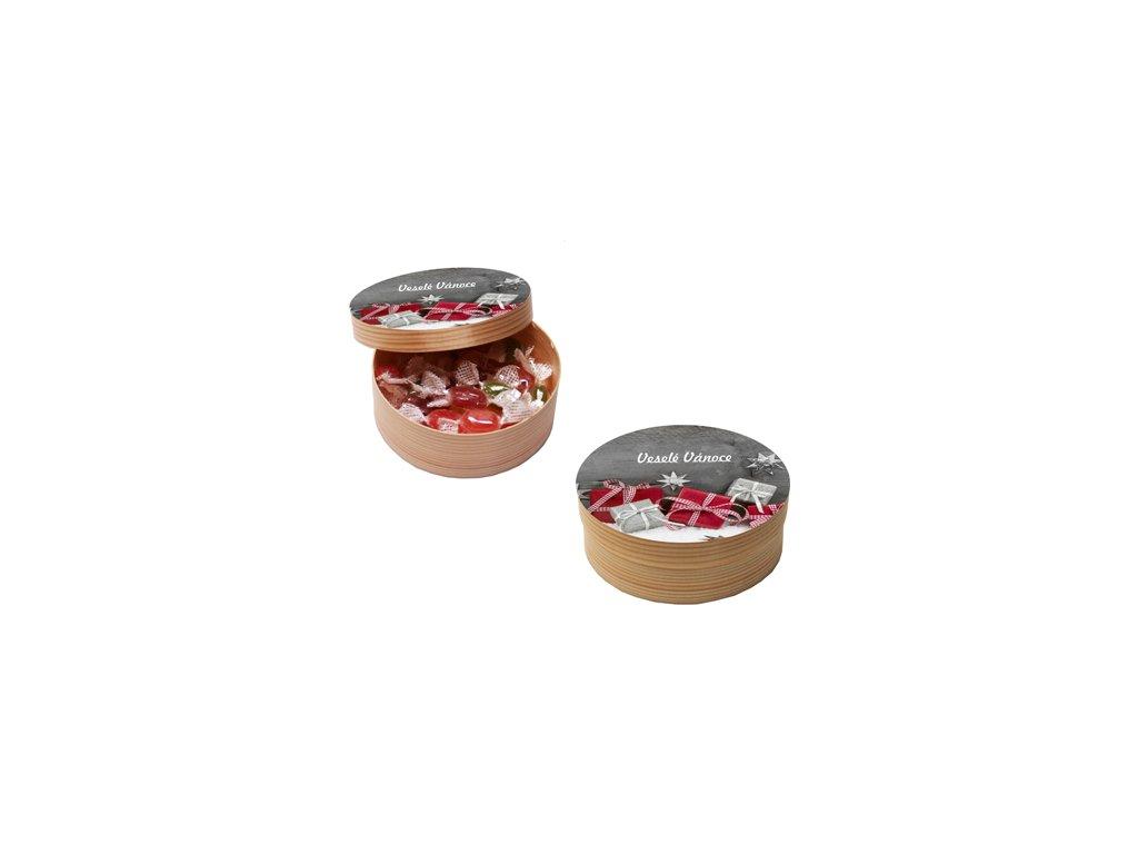 Kulatá dřevěná krabička s vánočním motivem a náplní medových bonbonů