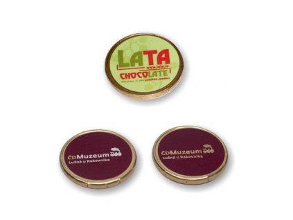 Čokomince 4,4g 34 mm s UV tiskem nebo samolepkou
