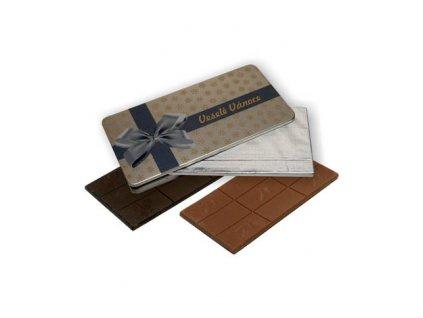 Čokoláda 80 g obdelník plechová krabička
