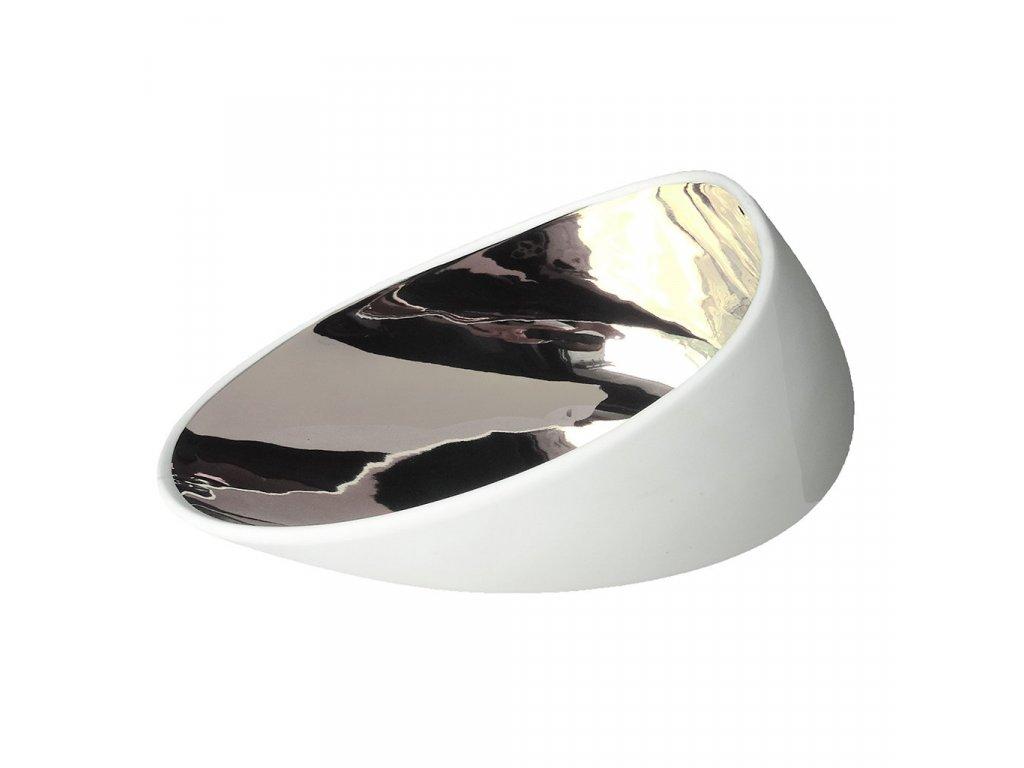 Cookplay Jomon L porcelánová miska stříbrná 18x14x9cm