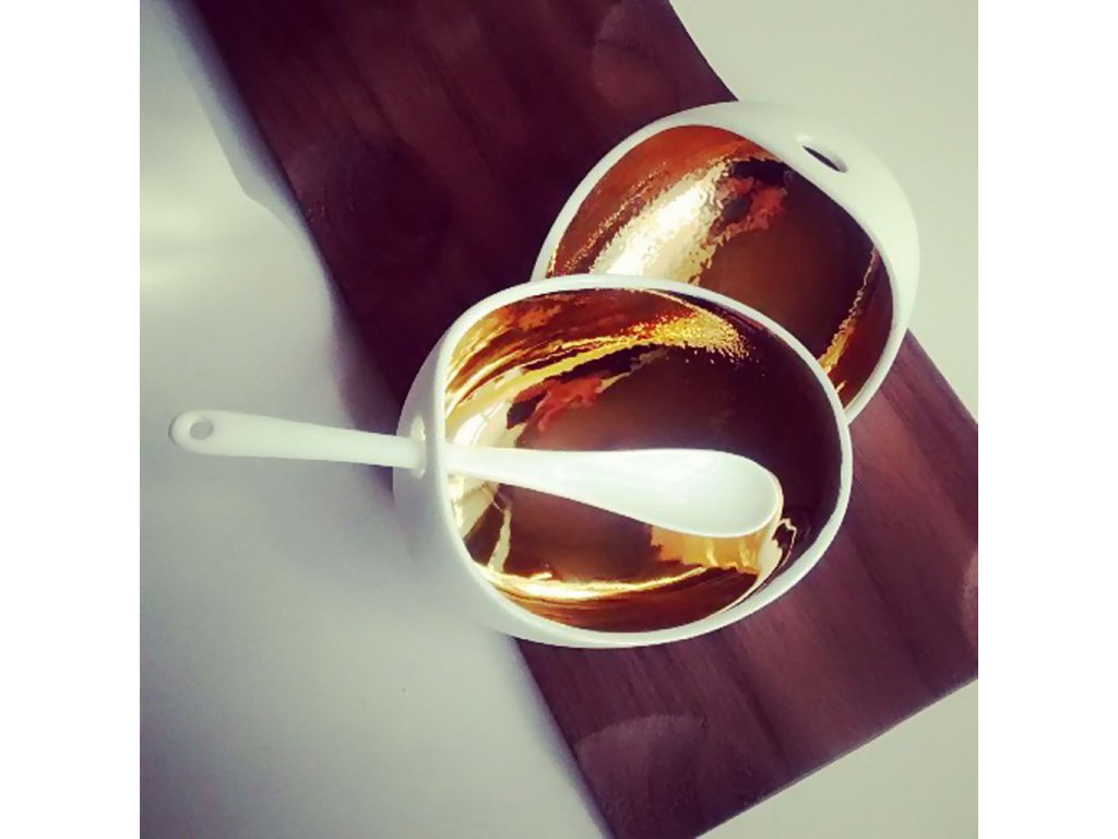 Cookplay Jomon L porcelánová miska zlatá 18x14x9cm
