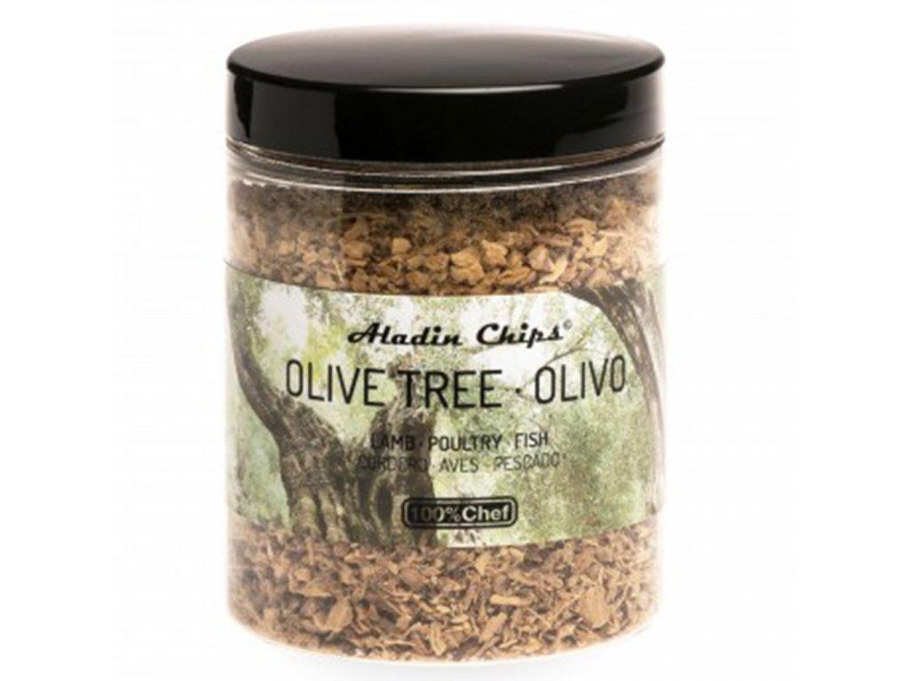 100% Chef Aladin Chips Olivovník udící piliny 80g